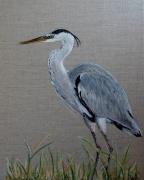 tableau animaux oiseau heron toile de lin decoration : * Le Héron*
