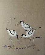tableau animaux oiseau avocette toile de lin : *AVOCETTES*