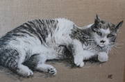 tableau animaux chat portrait animal peinture : LE CHAT * GRIBOUILLE*