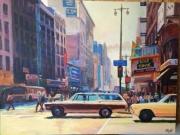tableau villes rue street car tramway voiture ville newyork : Rue voiture tramway