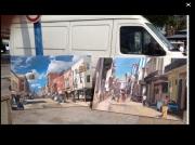tableau villes cuba voiture america street peuple artist artiste peintre artiste peintre : Cuba street