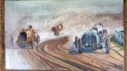 tableau sport voiture ancienne art bugatti artiste pein race car artiste pei poussiere vitesse ar : Course voiture car race