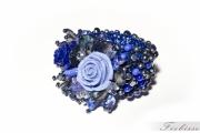 bijoux fleurs bracelet bleu manchette fantaisie : Idéal jean