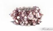 bijoux fleurs bracelet cristaux manchette fantaisie : Vive le violet!