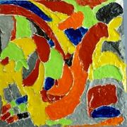 tableau abstrait abstrait sur enduit epais sculpte acrylique brillant : courbes 3 acrobate
