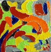 tableau abstrait abstrait sur enduit epais sculpte acrylique brillant : courbes 4 acrobate