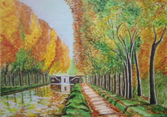 TABLEAU PEINTURE paysage canal toulouse automne Paysages  - paysage canal du midi