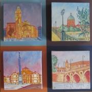 tableau villes quadryptique tableau tableau ,a cathedrale tableau le dome de l tableau vue sur le ,p : quadryptique tableaux toulouse