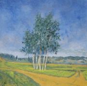 tableau paysages paysage campagne achat huile paysage arbres : bouquet d'arbres