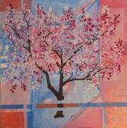 tableau paysages peinture arbres en f tableau contemporain achat tableau decora toile deco moderne ,a : arbre en fleurs