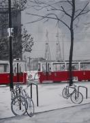 tableau villes tram barcelone neige achat tableau toulou cadeau original pein peinture moderne dec : tram