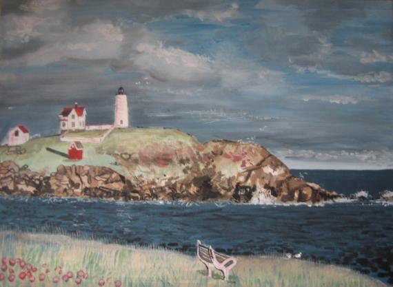 TABLEAU PEINTURE mer phare acrylique lighthouse-painting Marine  - paysage phare