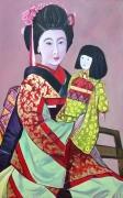 tableau personnages geisha tableau achat tableau japon peinture painting de peintre france japon : geisha et poupée