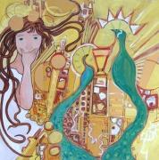 tableau personnages panneau bois art nou art deco toile toulo pucha klimt acaht toile peinte mucha : les deux paons