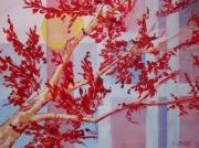 tableau fleurs tabelau deco arbre arbre en fleur rouge tableau de decoratio galerie art paysage : arbre a fleurs rouges