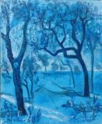 tableau paysages arbre bleu pyasge paysage peinture toile blue arbredec achat tableau deco b : arbre bleu