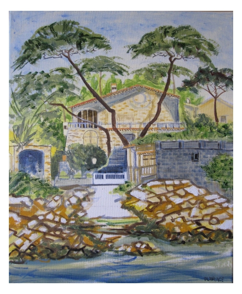 TABLEAU PEINTURE port saint ferreol paysage saint aygulf roquebrune sur argen maison port marine m Architecture Peinture a l'huile  - port saint ferreol st aygulf