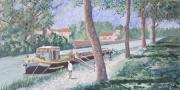 tableau paysages canal midi paysage sud peniche toulouse tableau canal : péniche sur le canal du midi