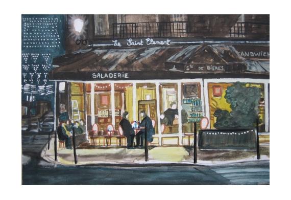 TABLEAU PEINTURE bar de nuit paysage nuit café peinture tableau brasserie Villes Acrylique  - bar de nuit