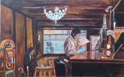 tableau personnages tableau bar ambiance painting bar restaur achat toile ambiance contrejour toulouse : ambiance bar