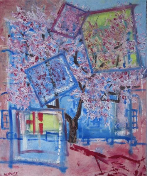 TABLEAU PEINTURE tableau arbre fleur arbre fleuri tableau toile arbre en fleur Paysages Peinture a l'huile  - arbre en fleurs moderne