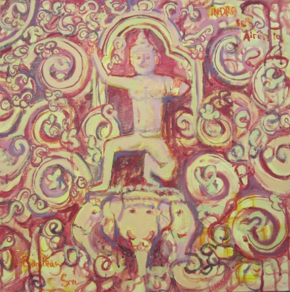 TABLEAU PEINTURE banteay srei tableau paeinture cambodge painting cambodia gi  - indra (banteay srei)