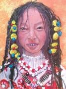 tableau personnages portrait du monde enfant tibet chine don association tabl achat tableau : danae portrait  du monde