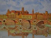 tableau villes paysage toulouse achat tableau pont neuftoulouse ville rose : paysage toulouse pont neuf garonne