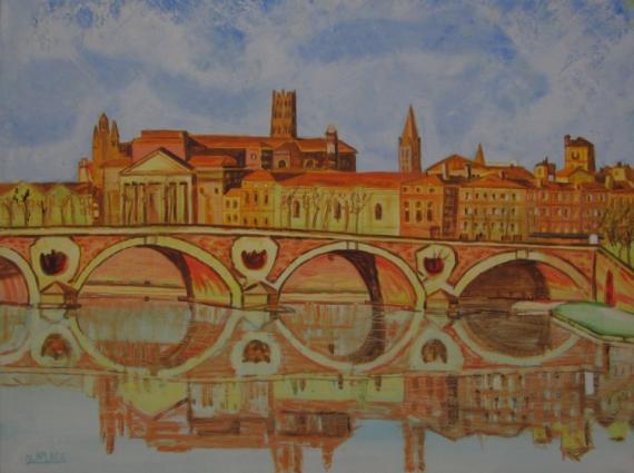 TABLEAU PEINTURE paysage toulouse achat tableau pont neuf,toulouse ville rose Villes Peinture a l'huile  - paysage toulouse pont neuf garonne