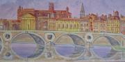 tableau architecture pont neuf tableau toulouse decoration ville ros galerie toulouse : vue pont neuf toulouse