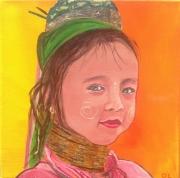 tableau sanou petite fille thai thailande table achat tableau assie asiatic thai paintin : sanou