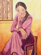 tableau personnages achat toile hanoi hommage repro toile jeune fille fille pensive : pensive