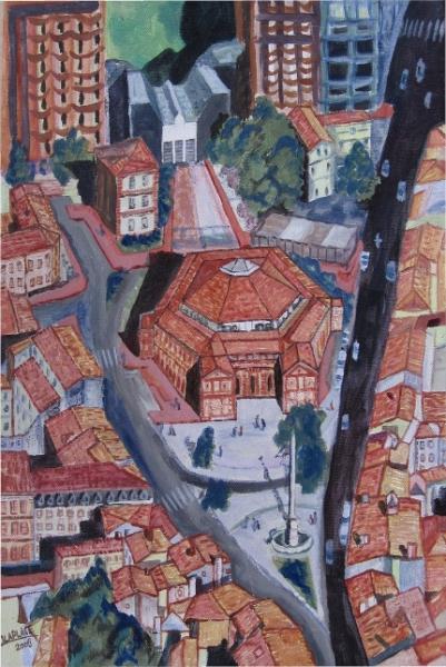 TABLEAU PEINTURE halle-aux-grains toulouse ville rose Architecture Peinture a l'huile  - halles aux grains toulouse