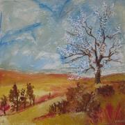tableau paysages paysage automne pein peinture printemps huile arbre en fleur tableau peinture ,pri : paysage mi-saison