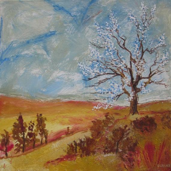 TABLEAU PEINTURE paysage automne pein peinture printemps huile arbre en fleur tableau peinture pri Paysages Peinture a l'huile  - paysage mi-saison