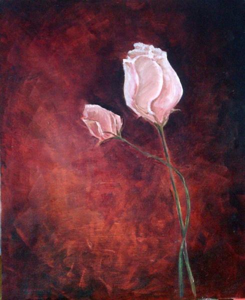 TABLEAU PEINTURE Roses Fleure rouge belle Fleurs Peinture a l'huile  - Roses