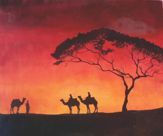 TABLEAU PEINTURE Sahara Сhameaux Voyage Сoucher du Paysages Acrylique  - Sahara