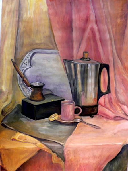TABLEAU PEINTURE Petit déjeuner café matin Nature morte Gouache  - Petit déjeuner