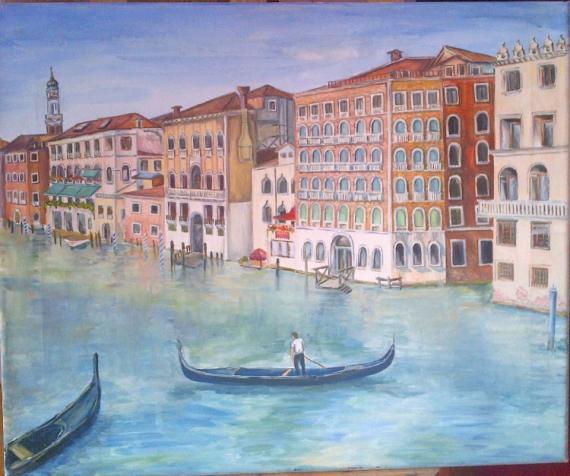 TABLEAU PEINTURE Venise ville gondole canal Villes Acrylique  - Venise