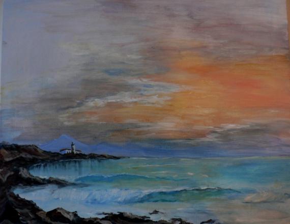 TABLEAU PEINTURE Mer plage ciel Сoucher du Marine Peinture a l'huile  - Mascaret