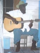 tableau personnages noir guitare louisiane : Lousiana Man