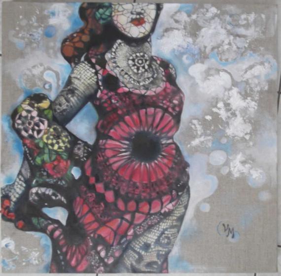 TABLEAU PEINTURE sculpture contemporaine vasconcelos Personnages Peinture a l'huile  - Joana