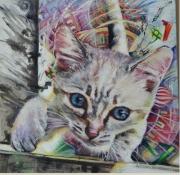 tableau animaux : Chat et souris verte