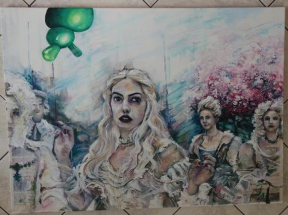 TABLEAU PEINTURE Scène de genre Acrylique  - Chez la reine blanche