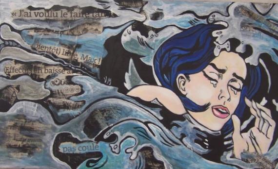 TABLEAU PEINTURE pop journal outrmer lichtenstein Personnages Acrylique  - Jeune fille se noyant dans les actualités