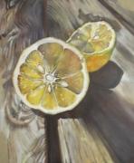 tableau fruits citron lin contemporain : Citron sur table