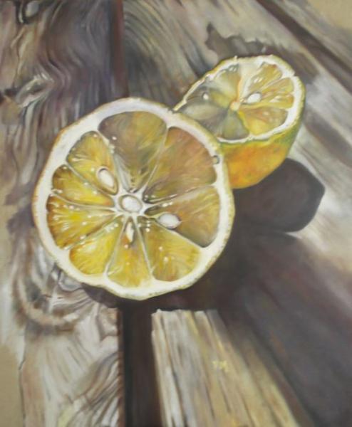 TABLEAU PEINTURE citron lin contemporain Fruits Peinture a l'huile  - Citron sur table