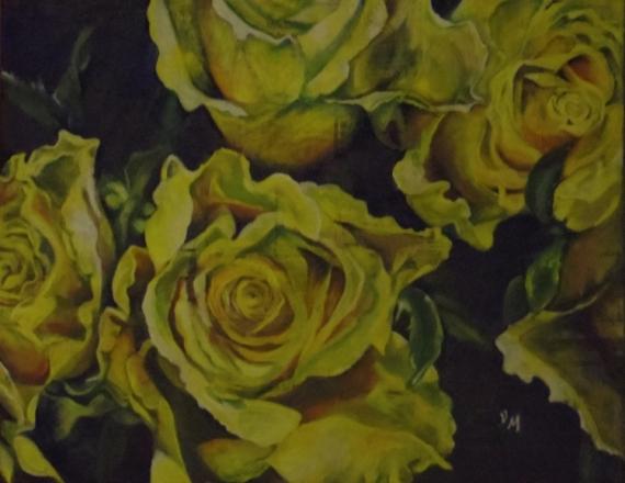 PAINTING Fleurs Acrylique  - Roses jaunes