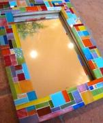 ceramique verre abstrait cadre photo cadre mosaique miroir mosaique miroir deco : Cadre en verre pour photo ou miroir