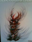 tableau abstrait imaginaire : épi de feu